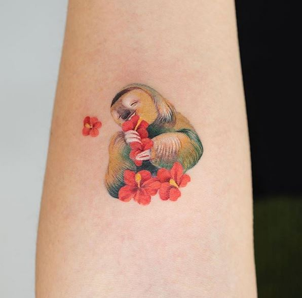 Happy Sloth Arm Tattoo