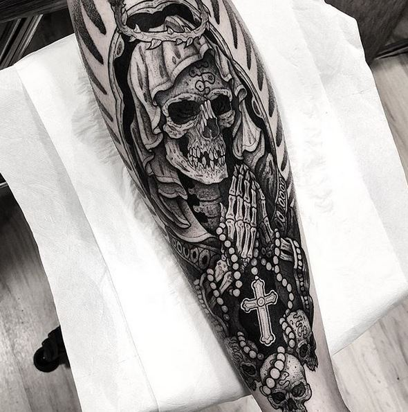 Holy Death Calf Tattoo