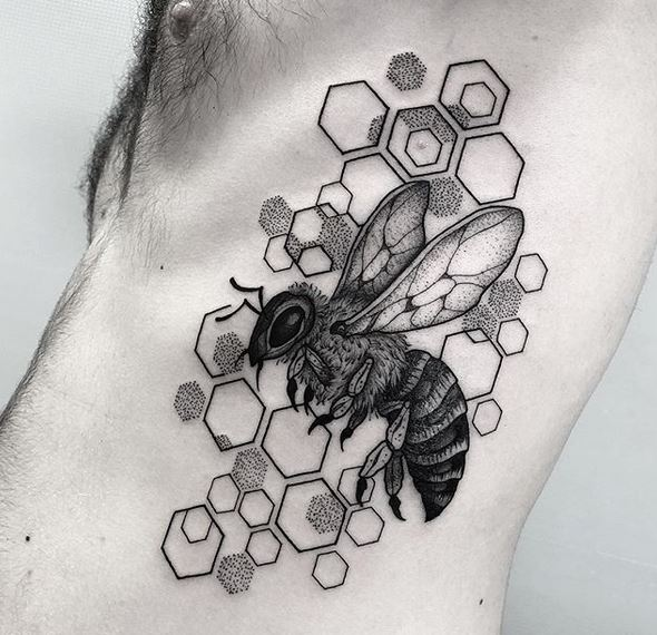 Honeycomb And Bee Side Tattoo
