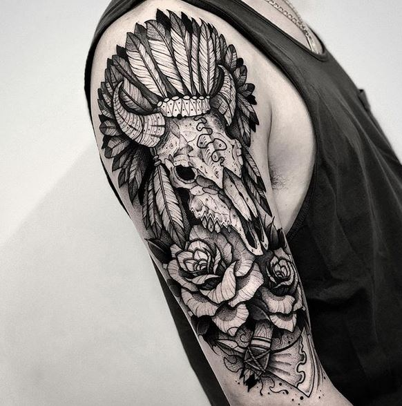 Indian Skull Arm Tattoo