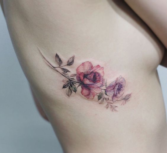 Intricate Floral Side Tattoo