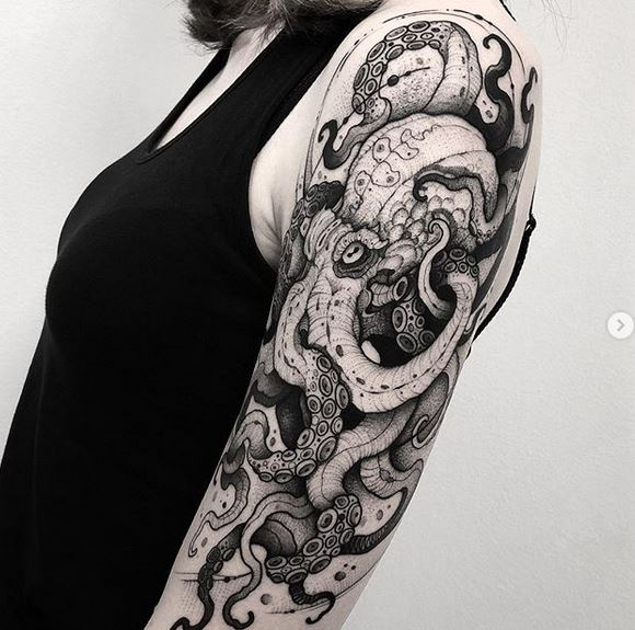 Intricate Octopus Arm Tattoo