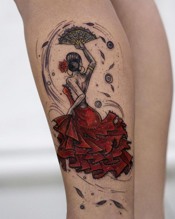 Lady In Red Leg Tattoo