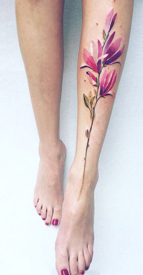 Magnolia Leg Tattoo