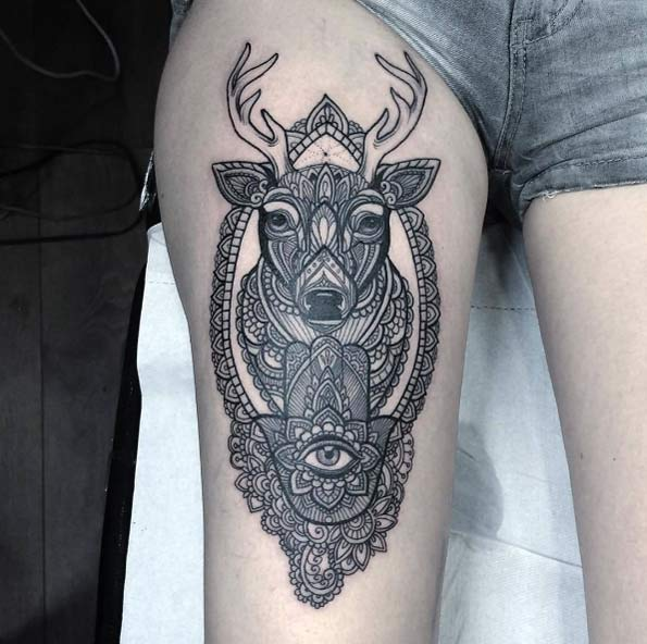 Mandala Stag Thigh Tattoo