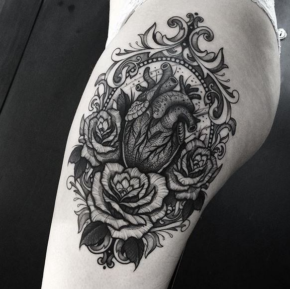 Ornamental Heart Thigh Tattoo