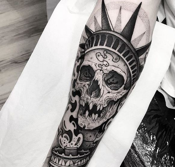 Statue Of Liberty Skull Forearm Tattoo