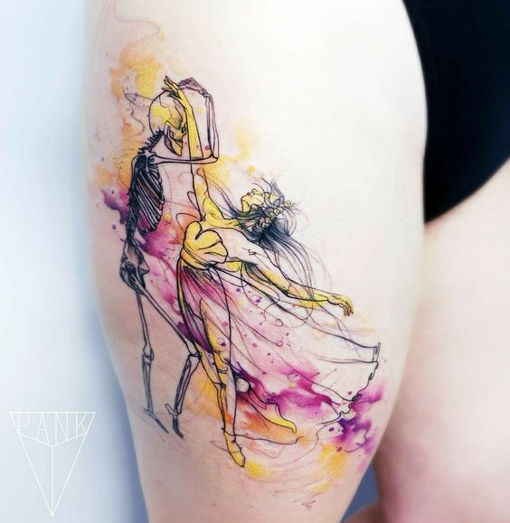 The Dance Thigh Tattoo