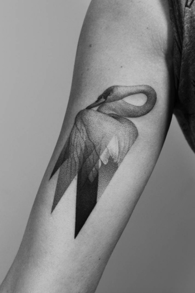 Transparent Swan Arm Tattoo