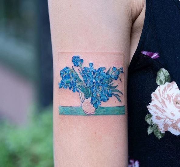 Van Gogh's Irises Arm Tattoo