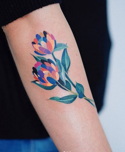 Vibrant Flowers Arm Tattoo