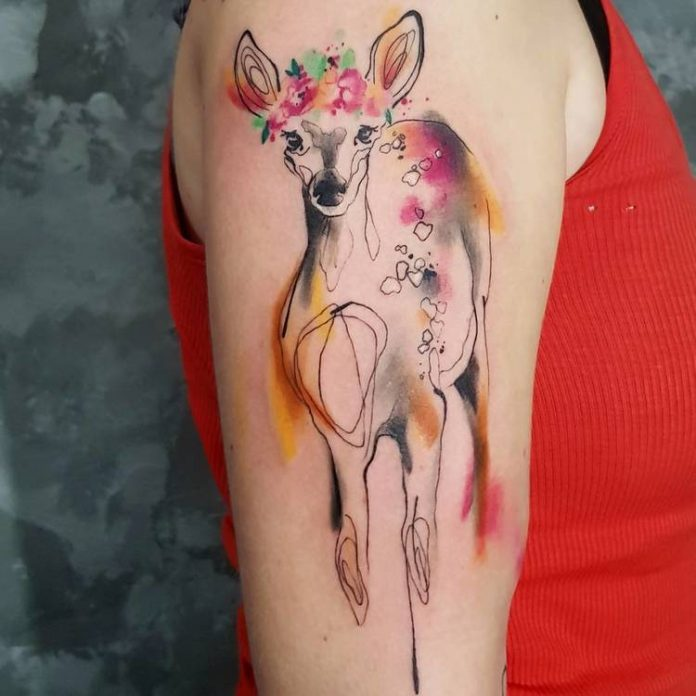 Watercolor Doe Arm Tattoo