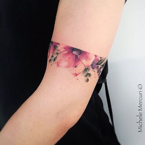 Watercolor Floral Arm Band Tattoo