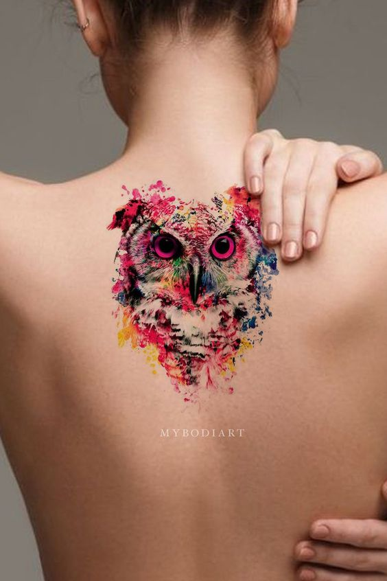 Watercolor Owl Back Tattoo