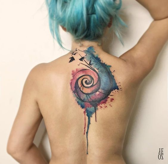 Watercolor Spiral Back Tattoo