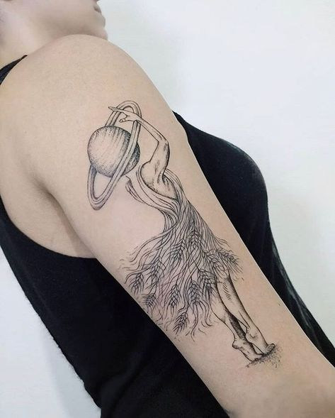 Wheat Dressed Lady Arm Tattoo