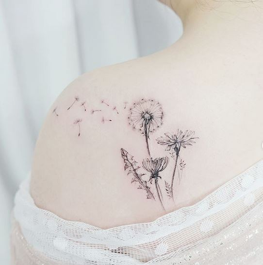 Dandelion Back Tattoo