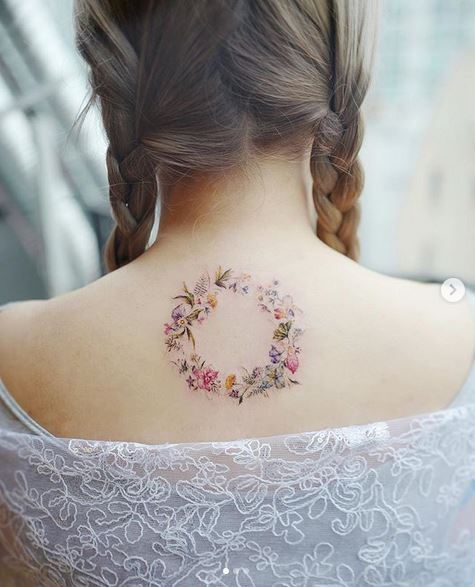 Floral Wreath Back Tattoo