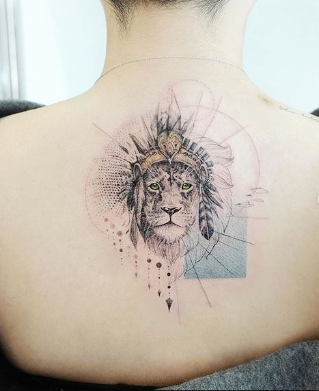 King Of The Jungle Back Tattoo