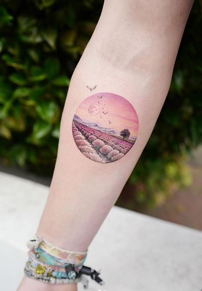 Lavender Field Forearm Tattoo