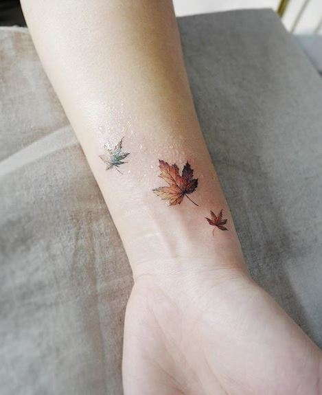 Maple Leaves Wrist Tattoo