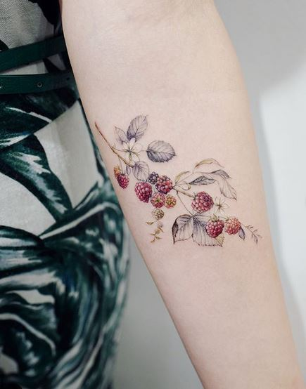 Raspberry Forearm Tattoo