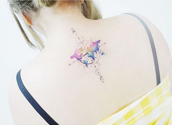 World Map Back Tattoo