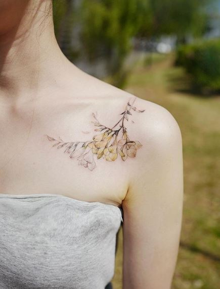 Yellowish Freesia Shoulder Tattoo