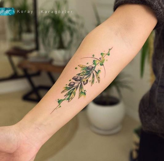 Watercolor Olives Forearm Tattoo