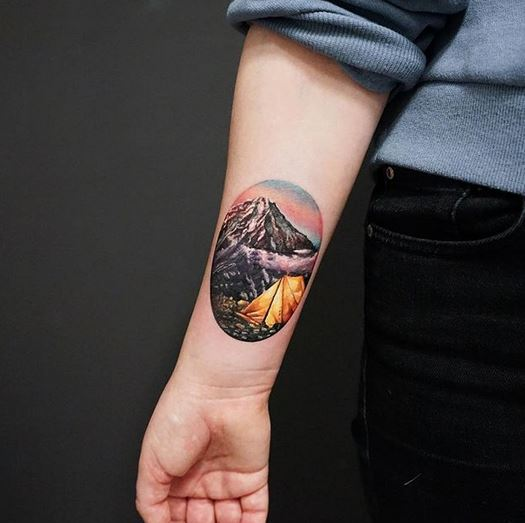 Camping Themed Forearm Tattoo