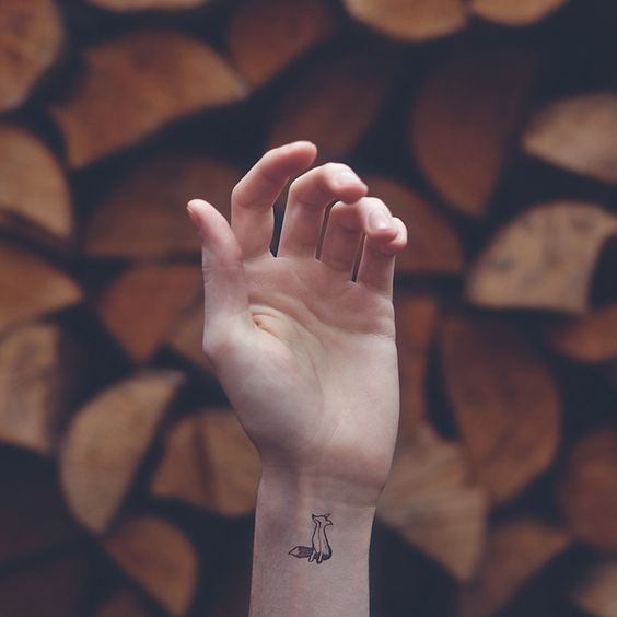 Geometric Fox Wrist Tattoo