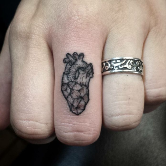 Heart Anatomy Finger Tattoo