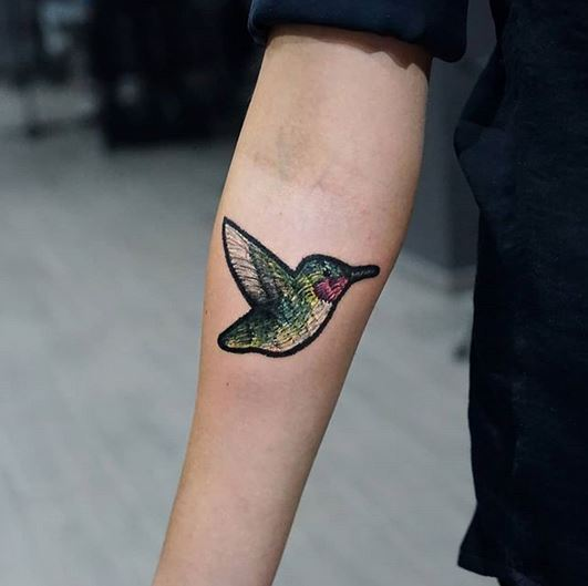 Hummingbird Patch Forearm Tattoo