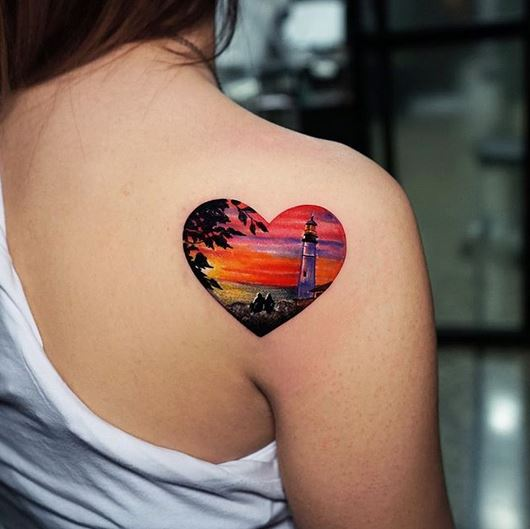 Light House Back Tattoo
