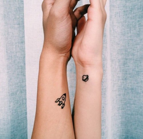 Rocket And Planet Wrist Tattoos