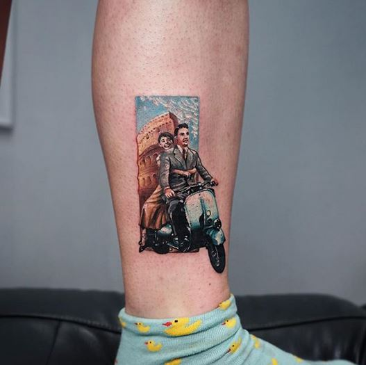Roman Holiday Leg Tattoo