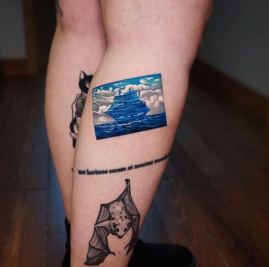 Sailing Ship Leg Tattoo