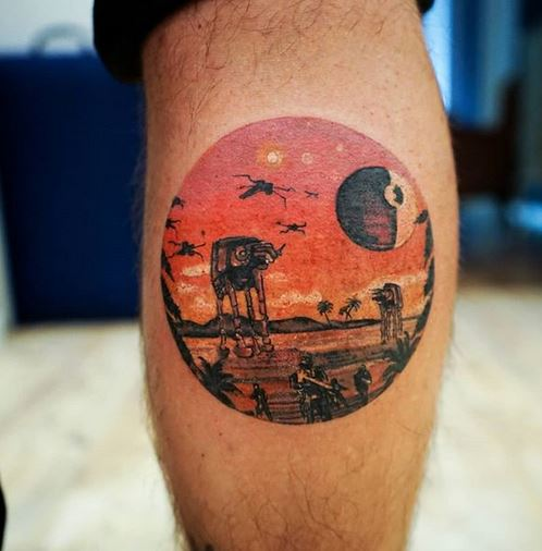 Star Wars Themed Calf Tattoo