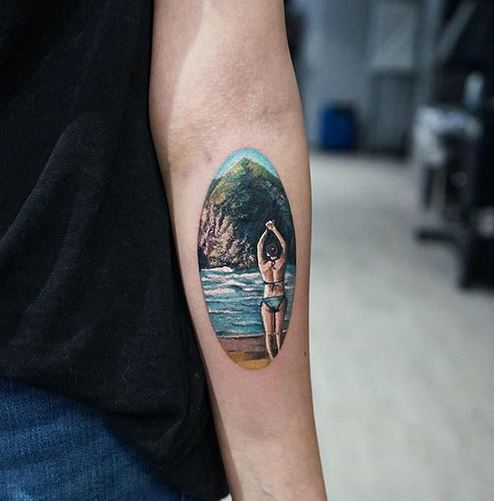 Swimming Lady Forearm Tattoo