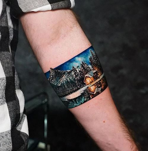 Winter Night Landscape Forearm Tattoo