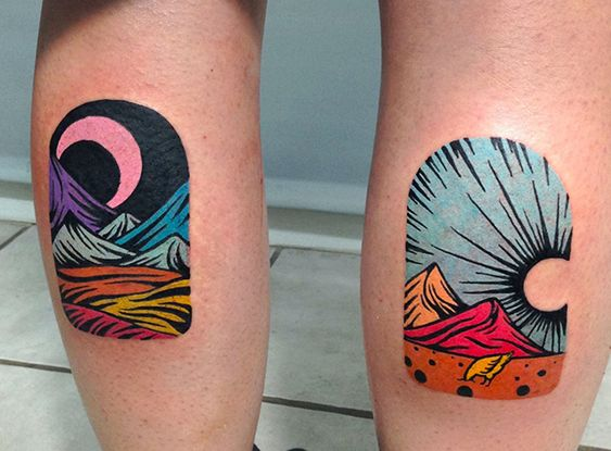 Day and Night Scenery Calf Tattoos