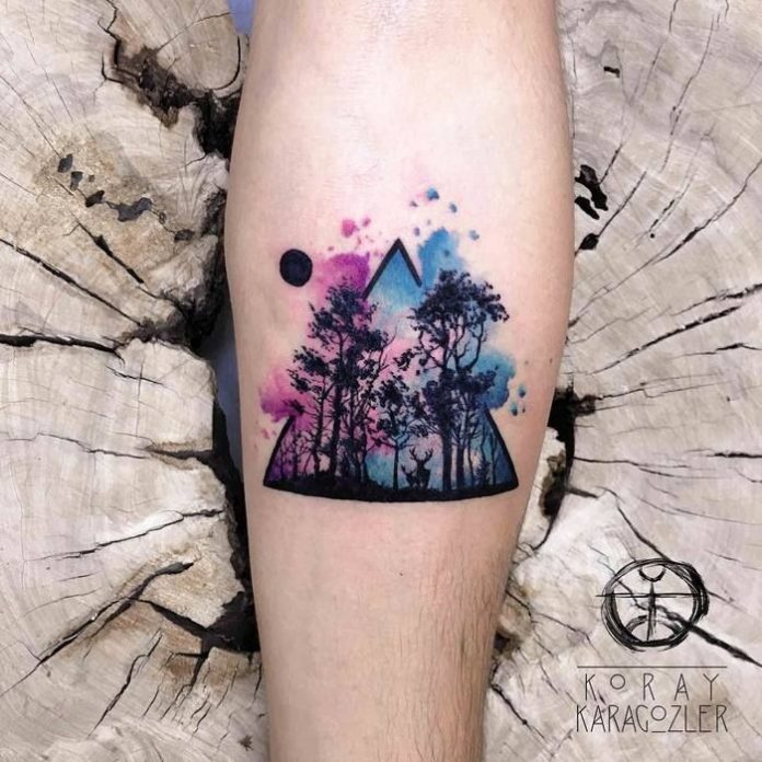 Forest View Watercolor Forearm Tattoo