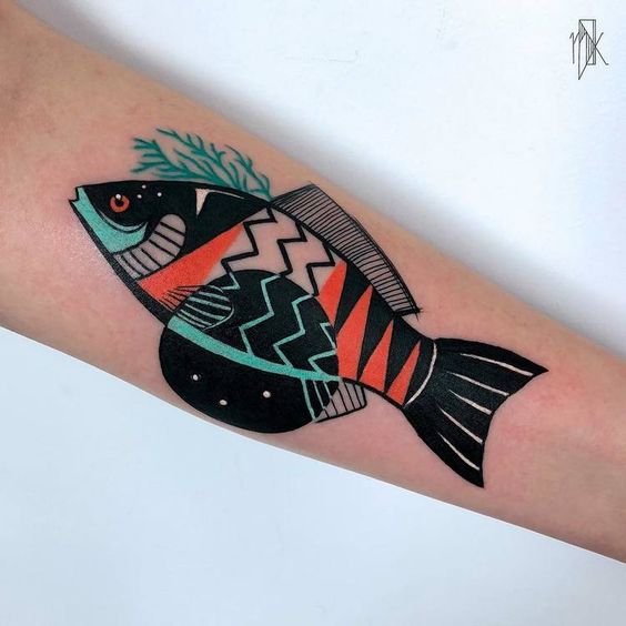 Graphic Fish Forearm Tattoo