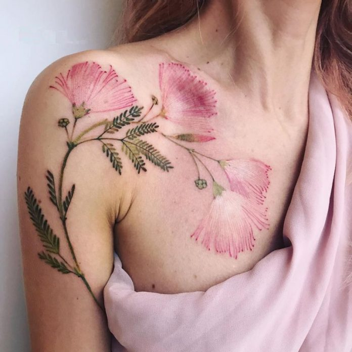 Lovely Calliandra Arm Tattoo