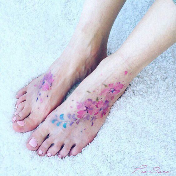 Lovely Floral Bouquet Feet Tattoos