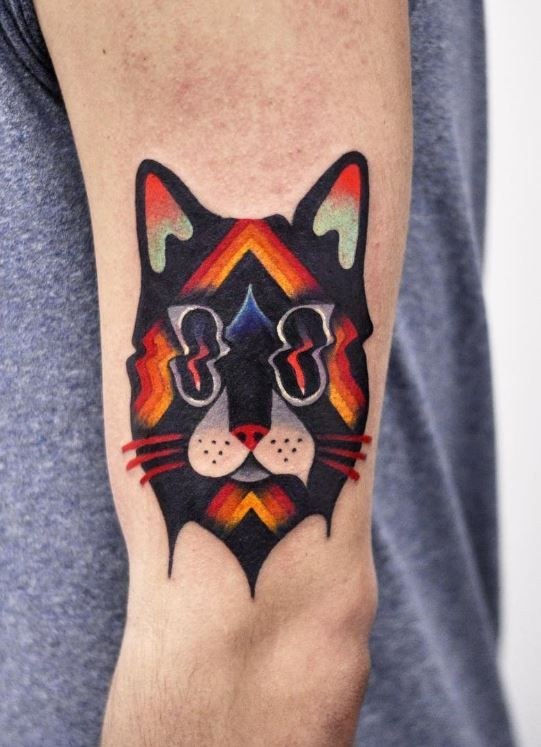 Psychedelic Cat Tattoo