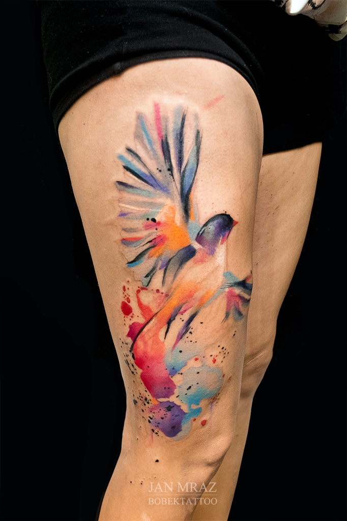 Soaring Bird Thigh Tattoo