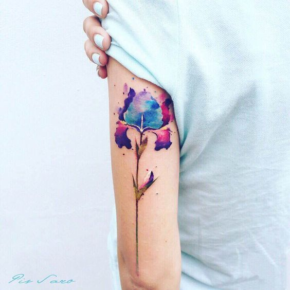 Space Infused Flower Arm Tattoo