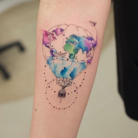 Watecolor Hot Air Balloon Forearm Tattoo