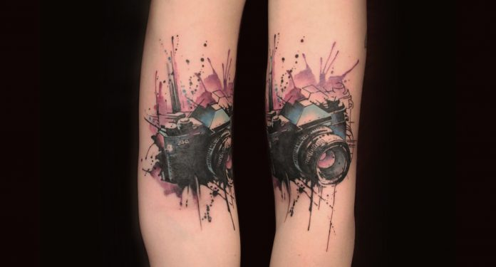 Watercolor Cameraa Arm Tattoo